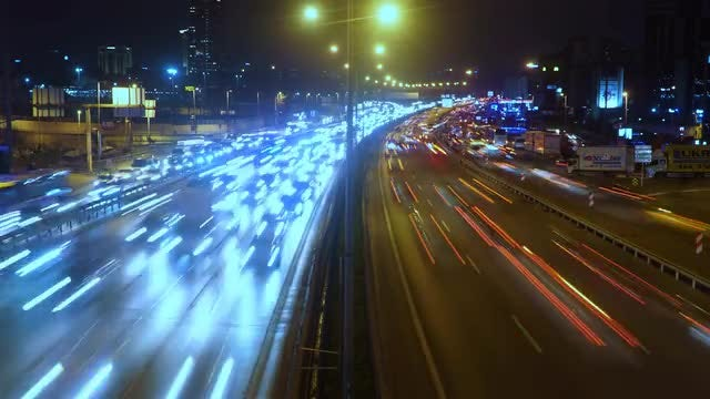 Time Lapse City Highway At Night: Stock Video