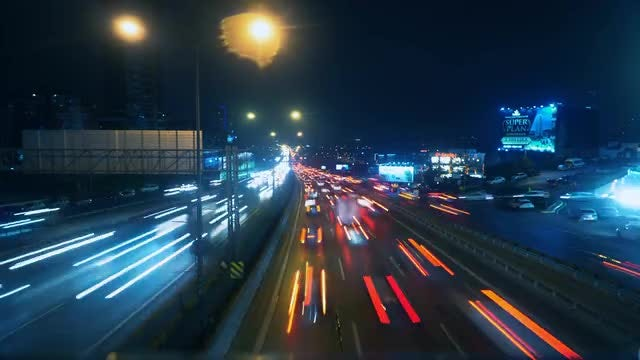 Traffic Time Lapse Lights Display: Stock Video