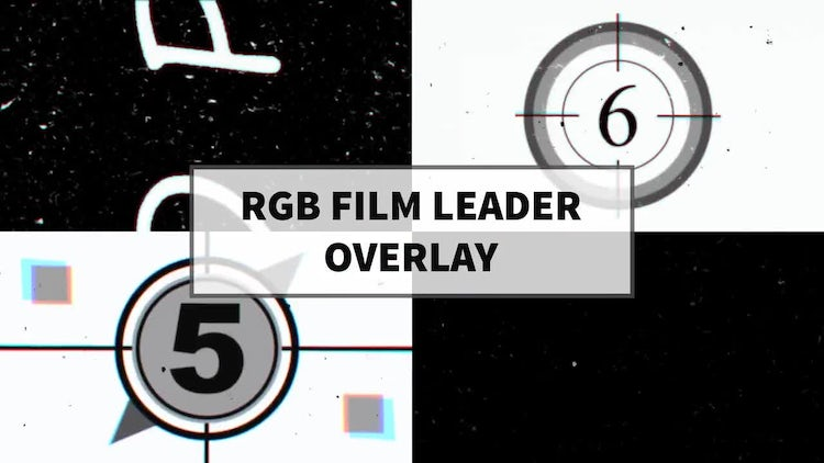 RGB Film Leader Overlay: Stock Motion Graphics