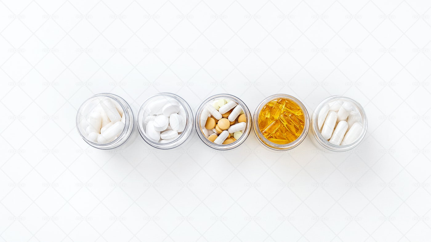 Containers With Various Pills: Stock Photos