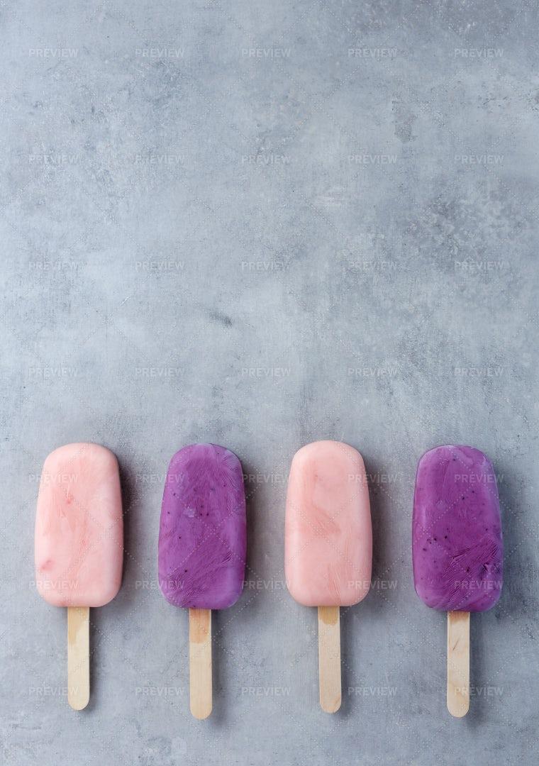 Pink And Purple Ice Creams: Stock Photos