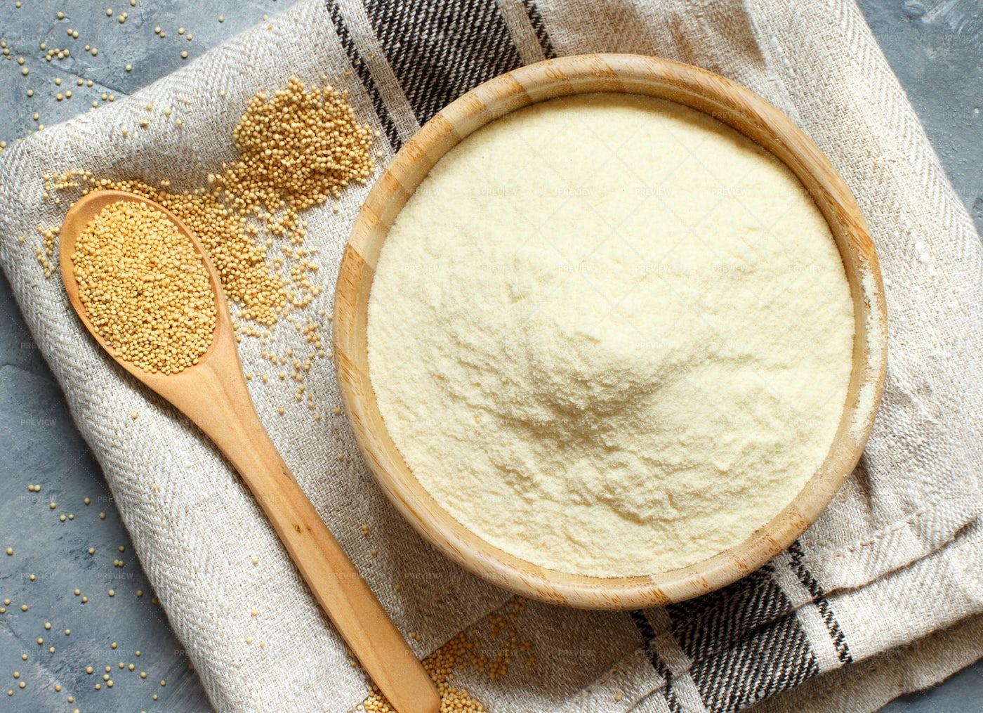Raw Amaranth Flour And Seeds: Stock Photos