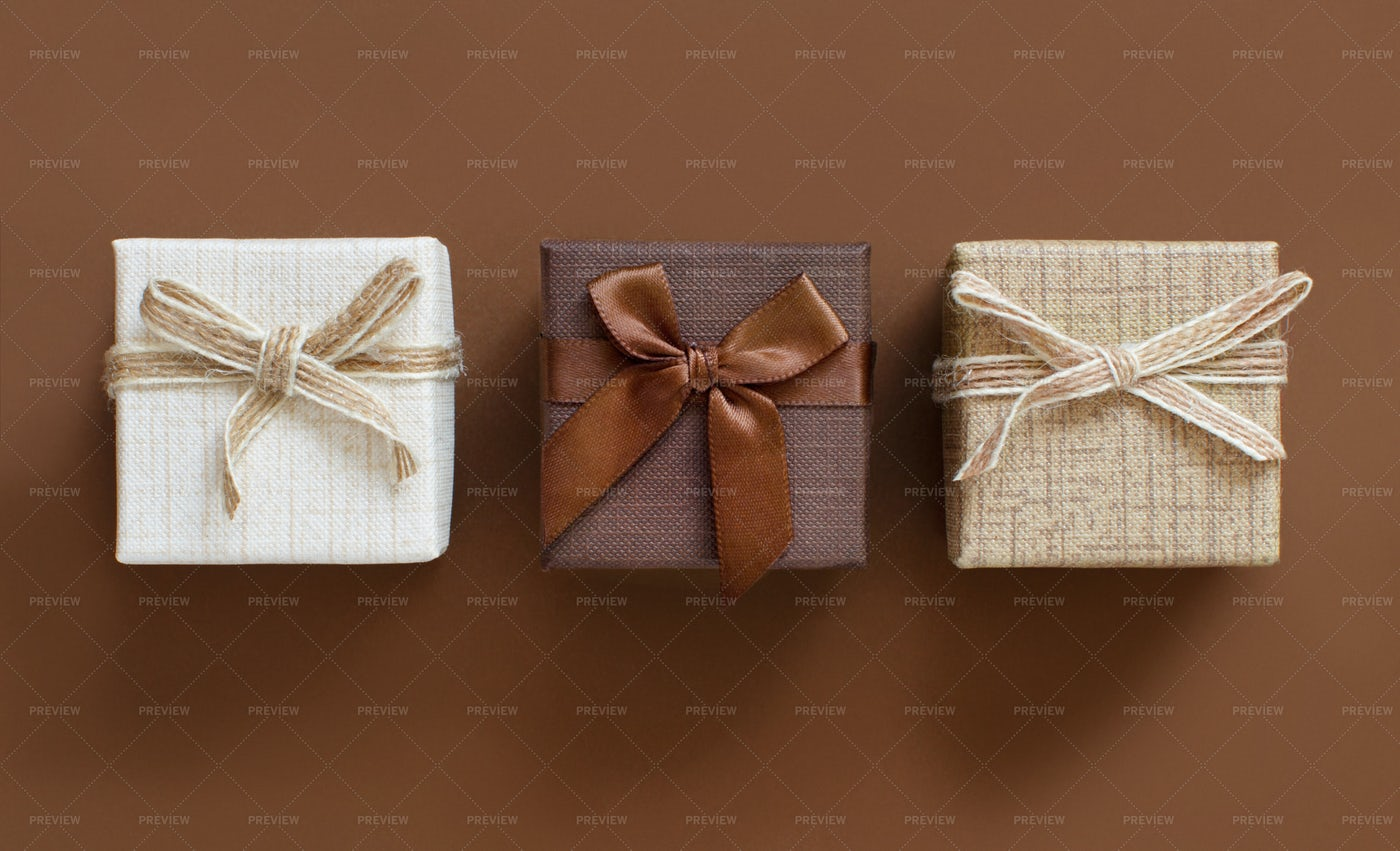 Brown Tones Of Gift Boxes: Stock Photos