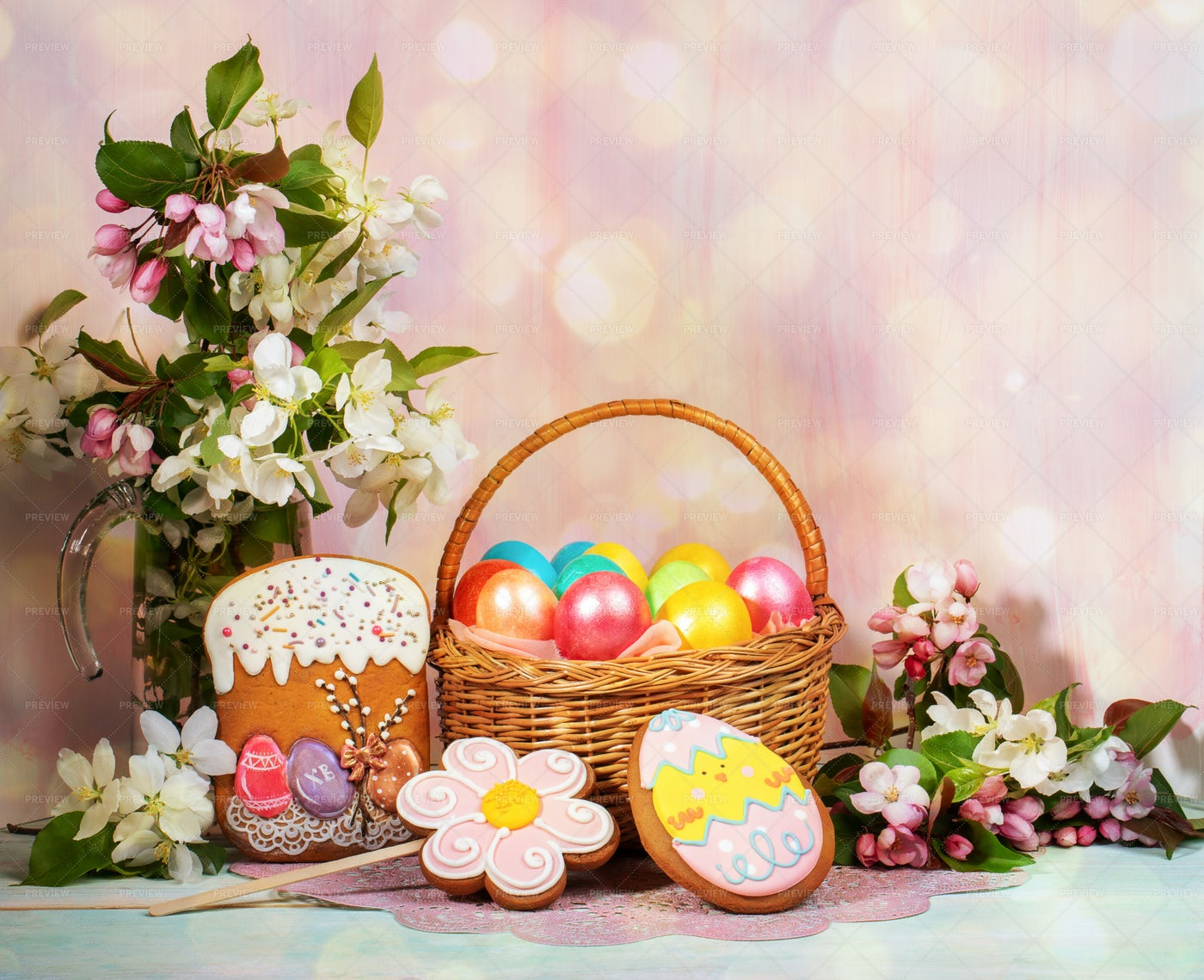 Easter Greeting Card With Eggs: Stock Photos