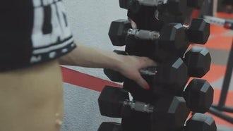 Training Dumbbells Rack: Stock Video