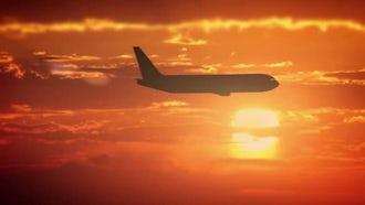 Airplane Flies In The Orange Sky: Stock Video
