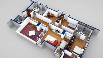 House Scaled Model 3D Blueprint : Motion Graphics
