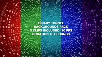 Binary Tunnel Backgrounds Pack: Motion Graphics