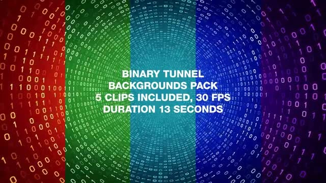 Binary Tunnel Backgrounds Pack: Stock Motion Graphics