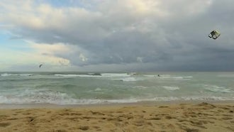 Windsurf And Surf On An Overcast Day: Stock Footage