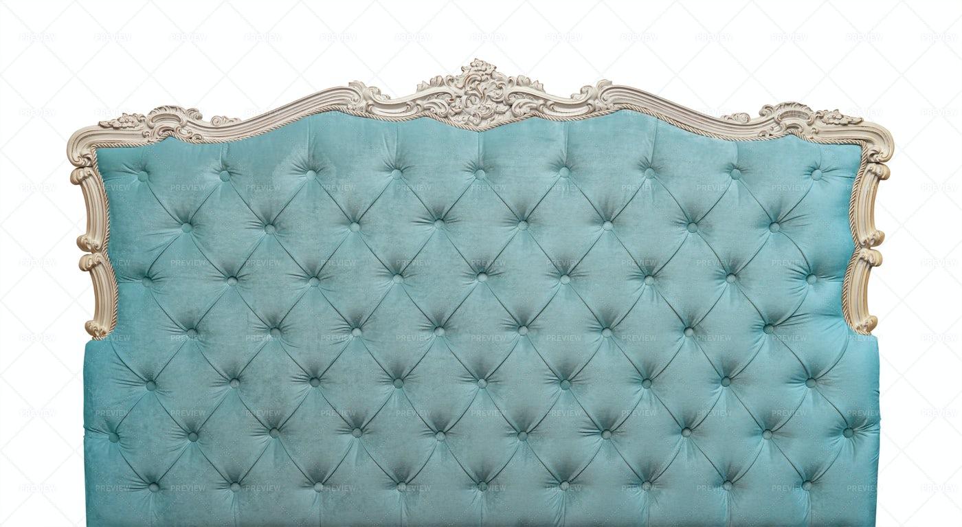 Blue Velvet Bed Headboard: Stock Photos