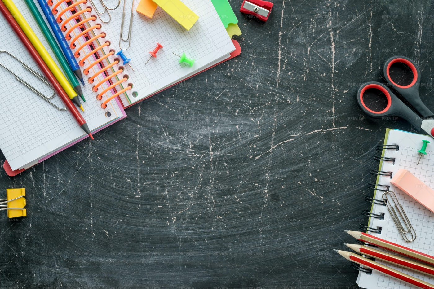 Stationery On A Chalkboard: Stock Photos