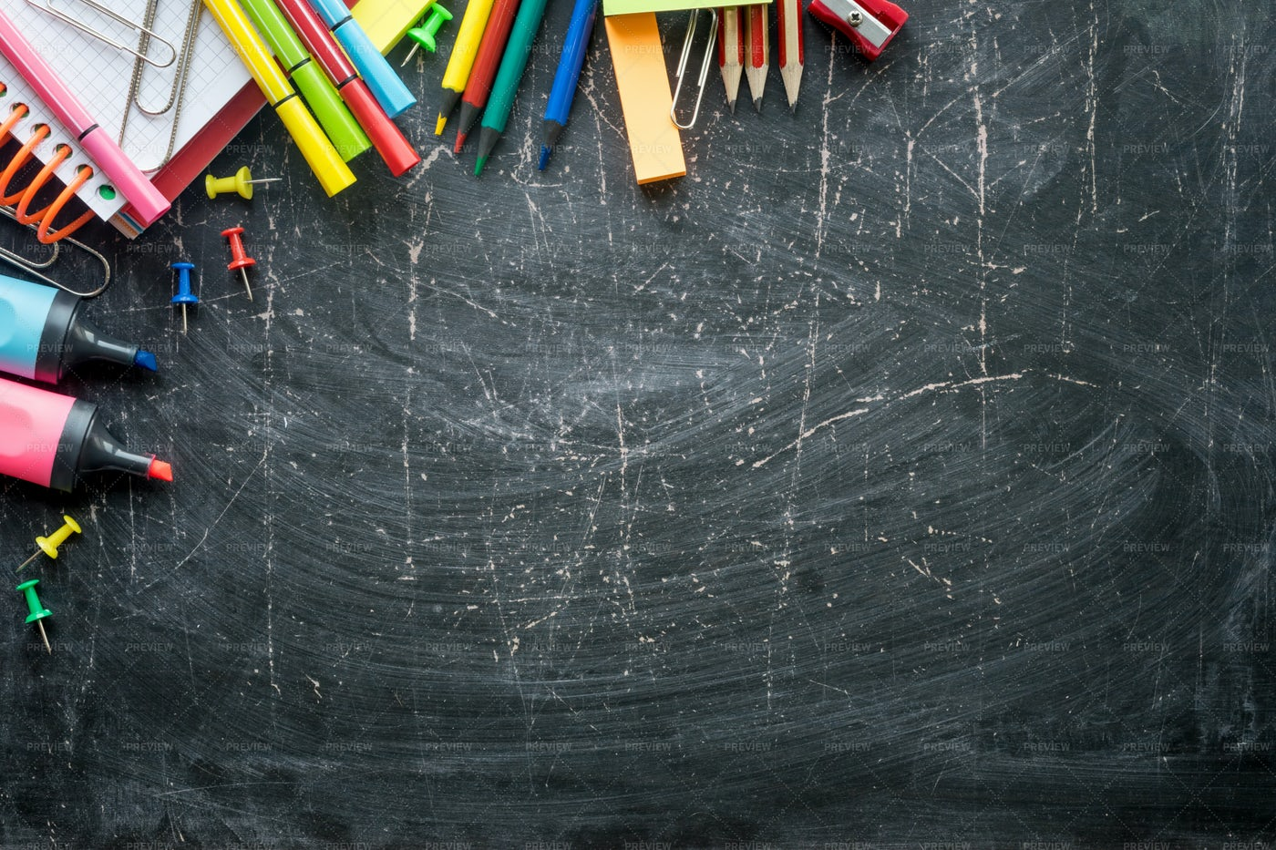 Stationery Against A Chalkboard: Stock Photos