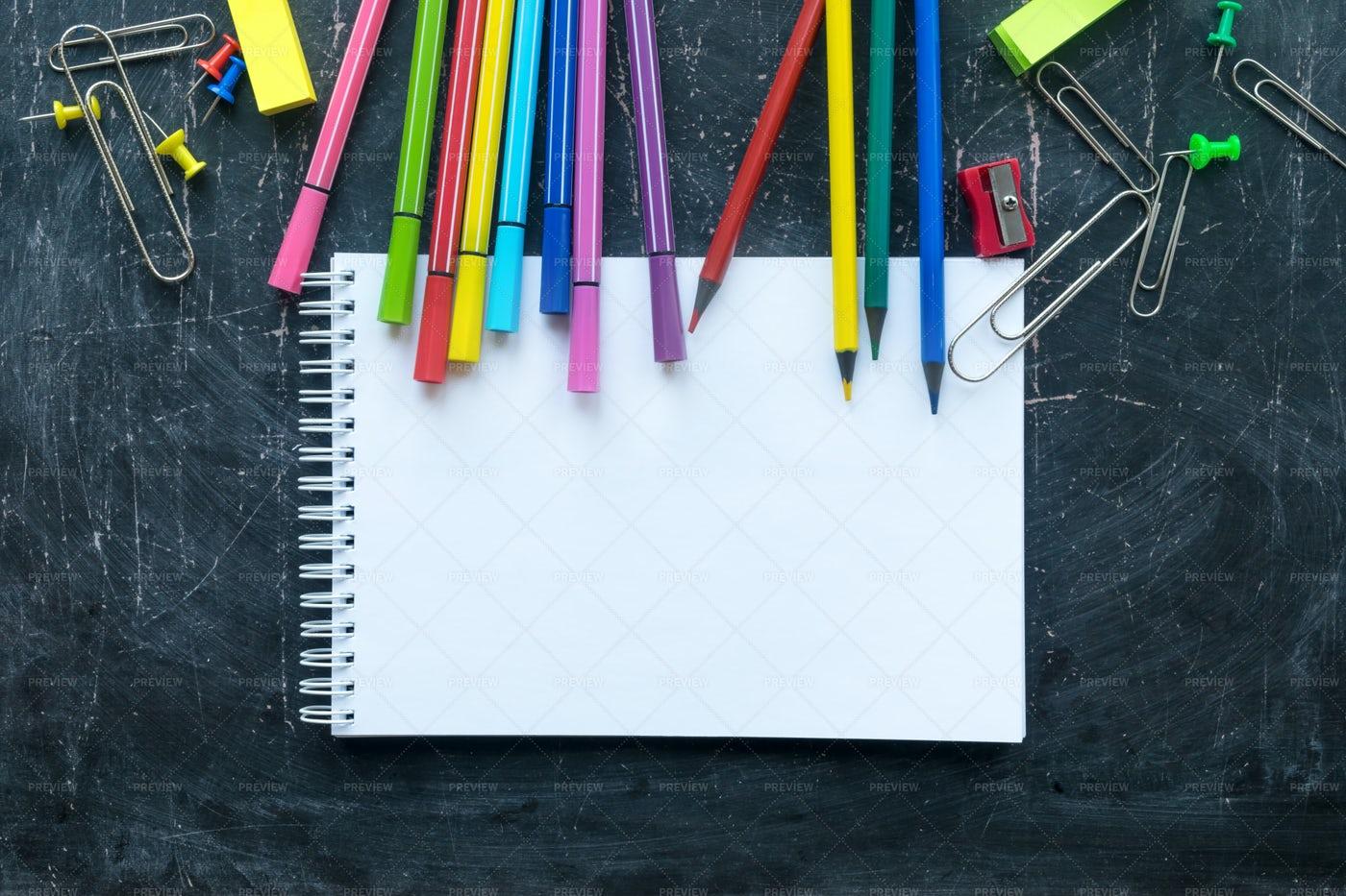 School Supplies And Notebook: Stock Photos