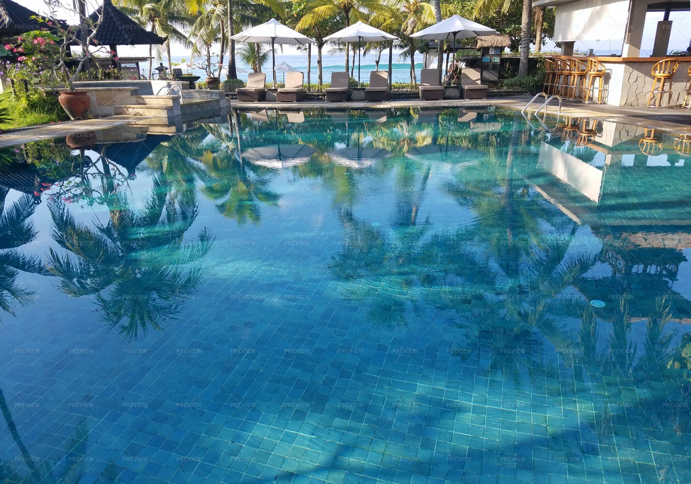 Pool Bar In A Bali Resort: Stock Photos
