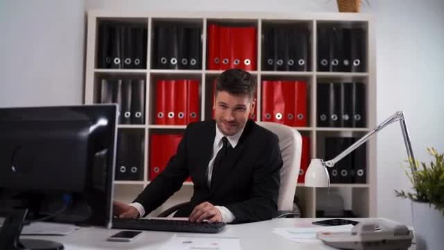 Working Smiling In Office : Stock Video