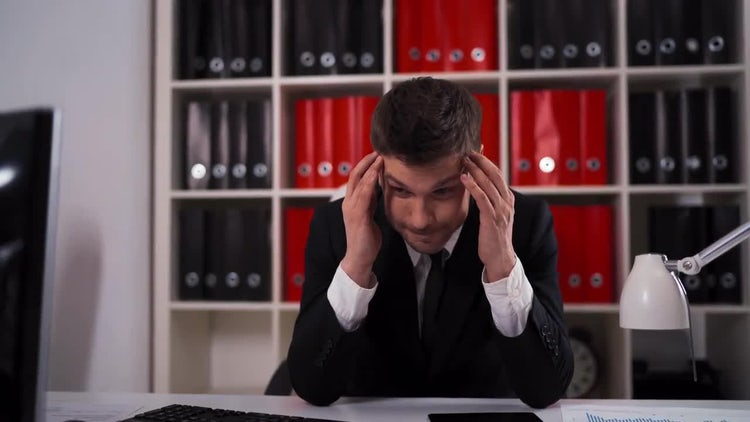 Man Stressed At Work: Stock Video