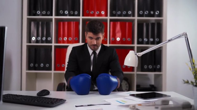 Ready To Fight At Work: Stock Video