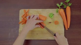 Top View Of Carrot Strips: Stock Video