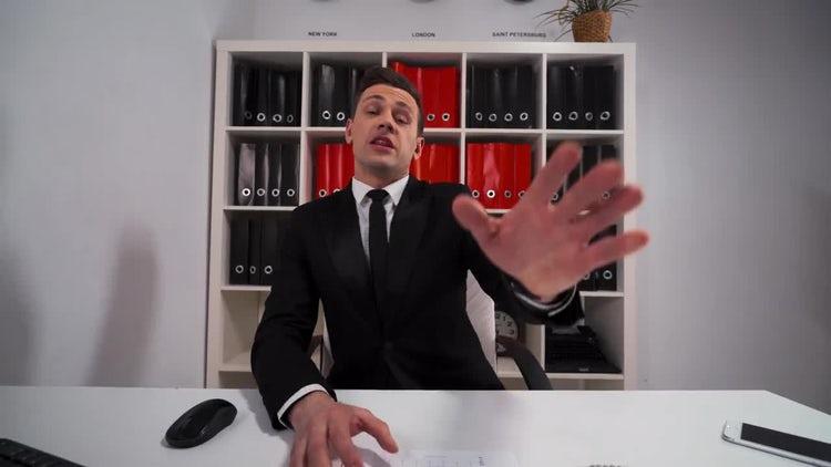 Businessman Explains, Shows Data: Stock Video