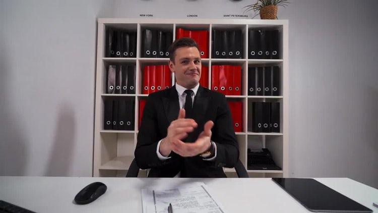 Businessman Applauds, Shakes Hand: Stock Video