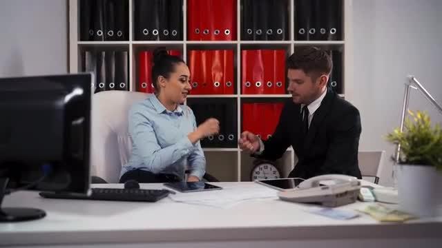 Rock Paper Scissors At Work: Stock Video