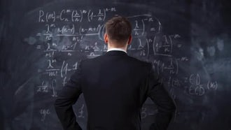 Back view of man over chalkboard : Stock Video