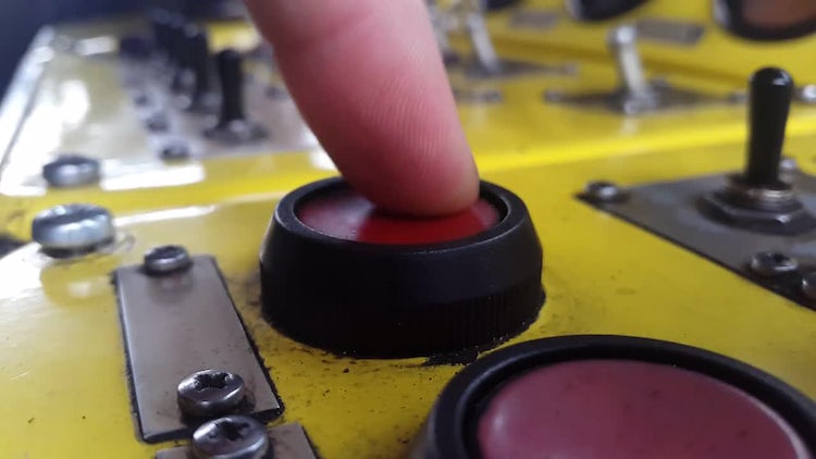 Press The Red Production Button: Stock Video