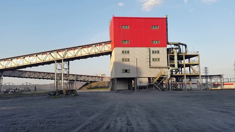 Ore Conveyor Industrial Zone : Stock Video