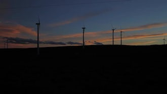 Wind Farm Silhouette Dark: Stock Video