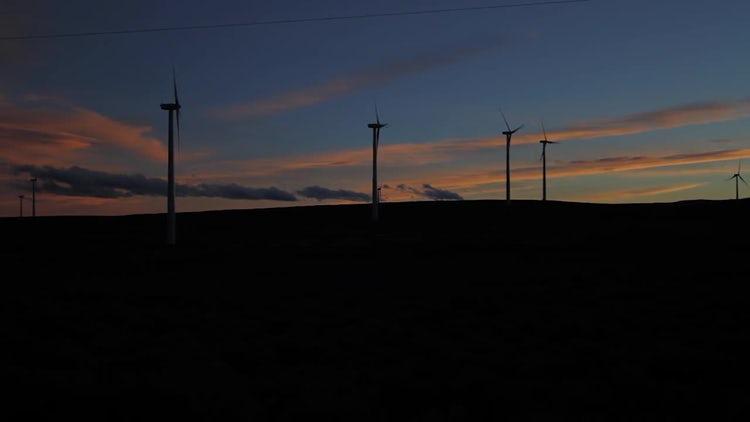 Wind Farm Silhouette Dark: Stock Video