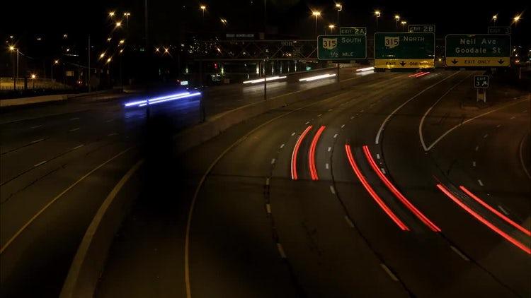 Interstate Night Lights Columbus Ohio: Stock Video
