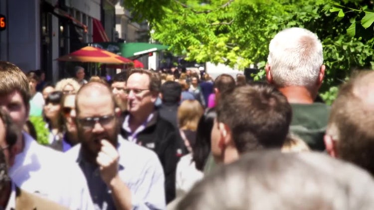 Walking Down Busy Chicago Street: Stock Video