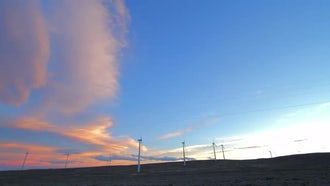 Wind Farm Sunset Clouds: Stock Video