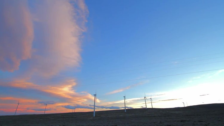 Wind Farm Sunset Clouds: Stock Video