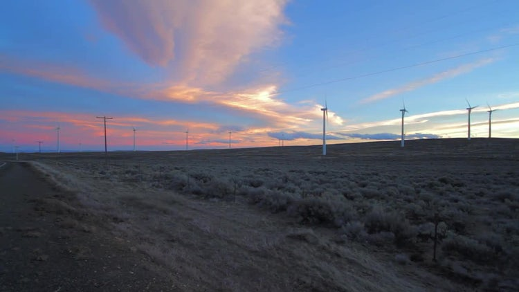 Wind Turbines During Sunset: Stock Video
