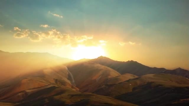Heavenly Sunset In The Mountains: Stock Video