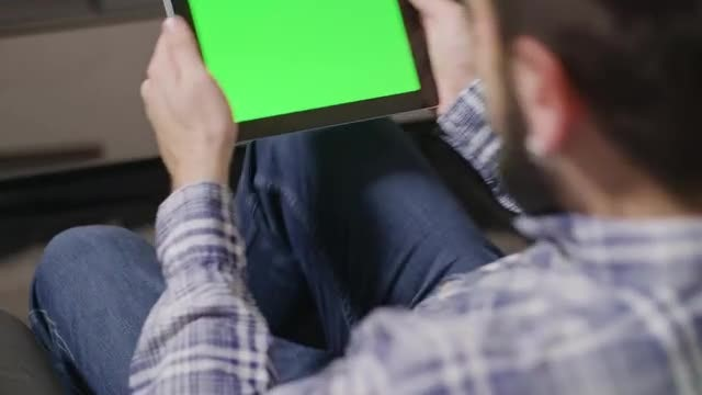 Man With A Digital Tablet With Green Screen: Stock Video