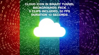 Cloud In Binary Tunnel Backgrounds Pack: Motion Graphics