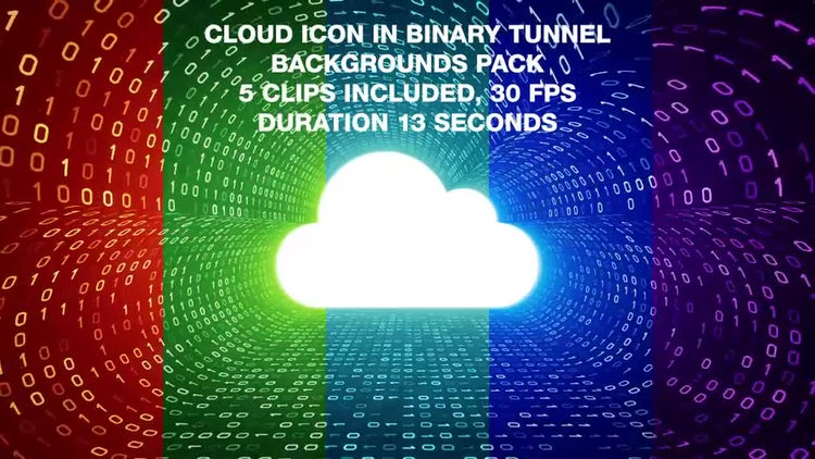 Cloud In Binary Tunnel Backgrounds Pack: Stock Motion Graphics