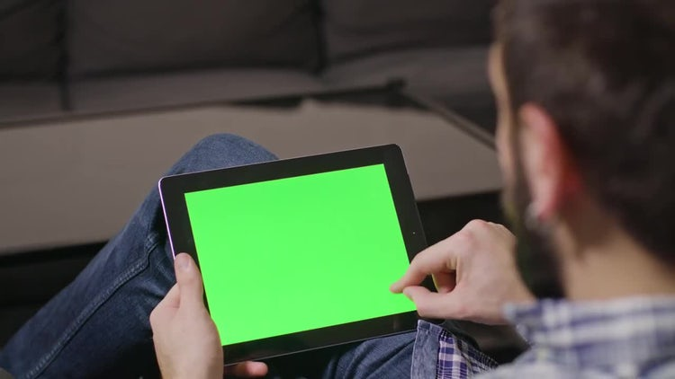 Green Screen Tablet Swiping Up Down: Stock Video