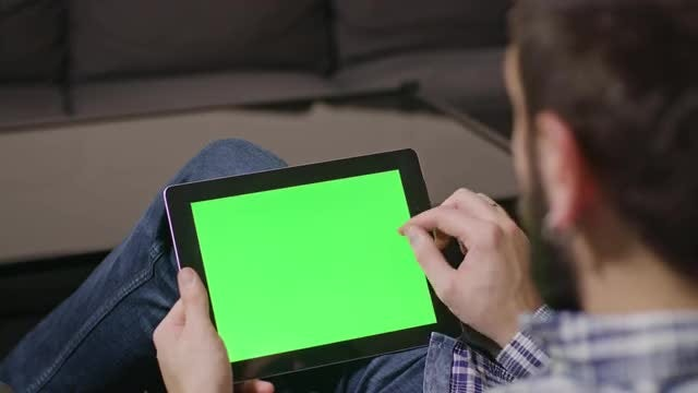 Green Screen Tablet Swiping: Stock Video