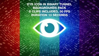 Eye In Binary Tunnel Backgrounds Pack: Motion Graphics