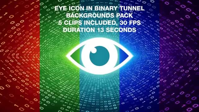 Eye In Binary Tunnel Backgrounds Pack: Stock Motion Graphics