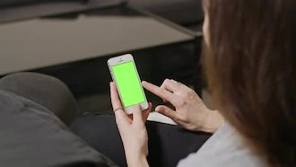 Tapping On Smartphone Green Screen: Stock Video