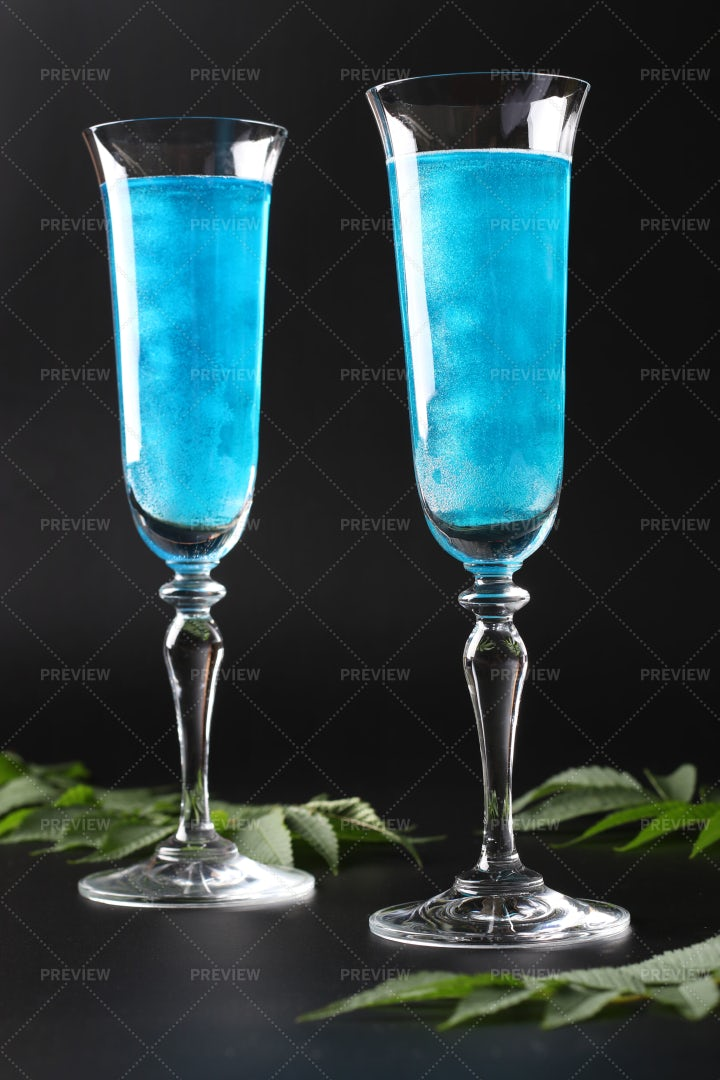 Two Blue Cocktails: Stock Photos
