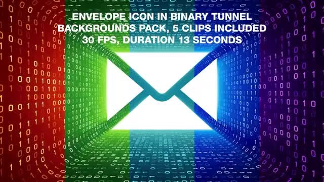 Envelop In Binary Tunnel Backgrounds Pack: Stock Motion Graphics