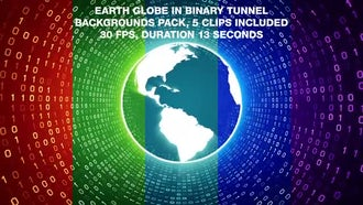 Earth Globe In Binary Tunnel Backgrounds Pack: Motion Graphics