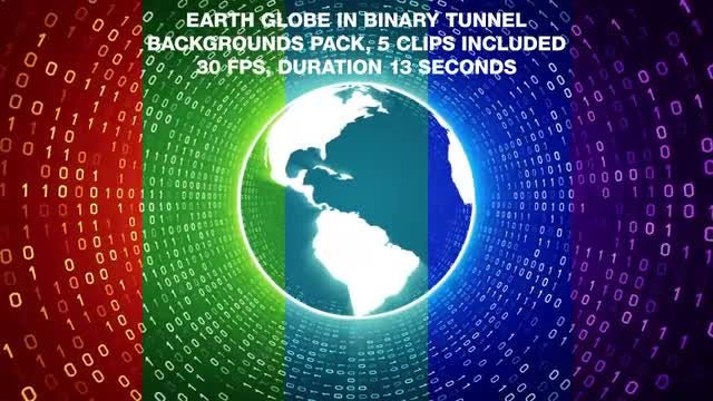 Earth Globe In Binary Tunnel Backgrounds Pack: Stock Motion Graphics