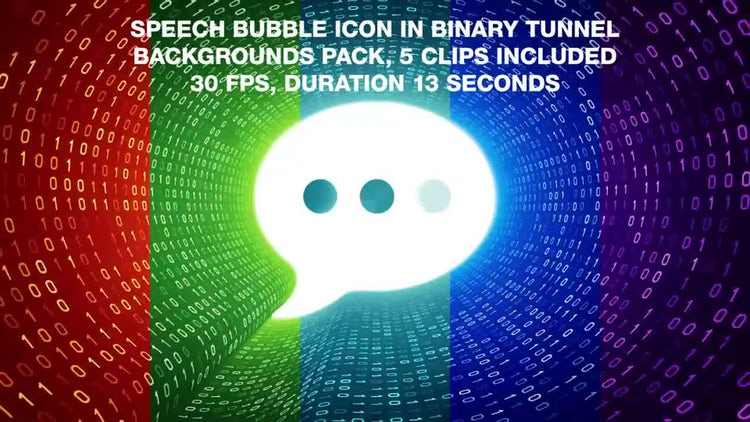 Speech Bubble In Binary Tunnel Backgrounds Pack: Stock Motion Graphics